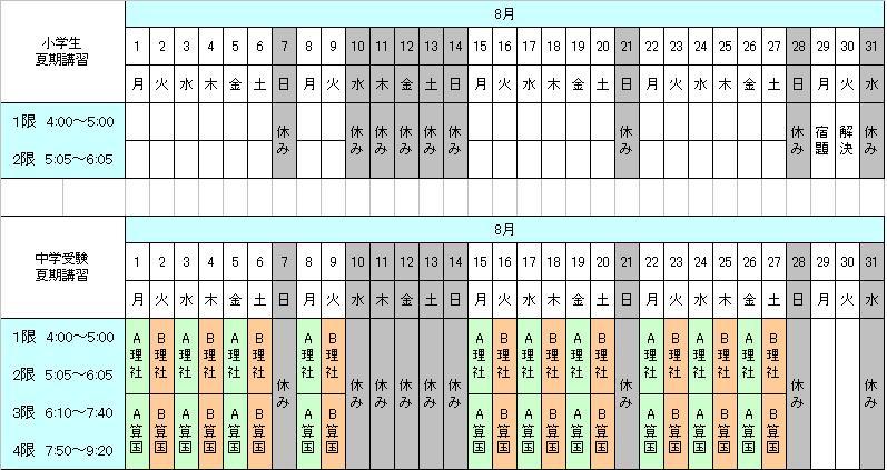 東京 個別 指導 学院 時間割
